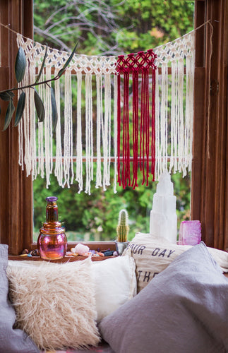 The House Phoenix Red Yarn Handmade Macrame Window Curtains