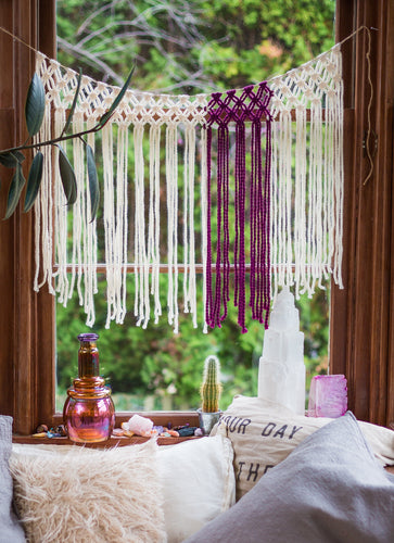Purple Yarn Macrame Window Curtains.  Customize By Width.