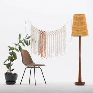 The House Phoenix Burnt Orange Yarn Macrame Window Curtain