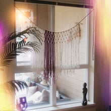 Touch of Red Yarn Macrame Window Curtains.  Customize By Width. - The House Phoenix