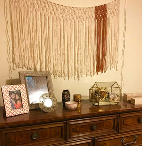 Burnt Orange Yarn Macrame Window Curtains.  Customize By Width. - The House Phoenix