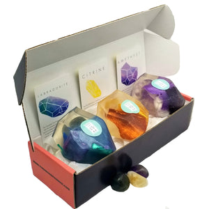 A Real Crystal In Each Vegan Soap Gift Set of 3 - Amethyst Citrine Labradorite