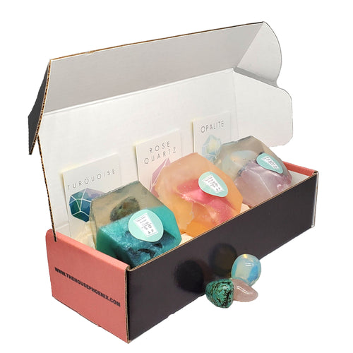 A Real Crystal In Each Handmade Soap Gift Set of 3 Turquoise, Opalite & Rose Quartz