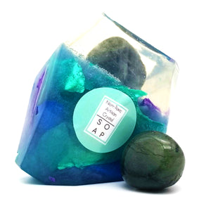 Labradorite Crystal Soap With A Real Crystal Stone In Each Vegan Bar Ylang Ylang Essential Oil - 4oz