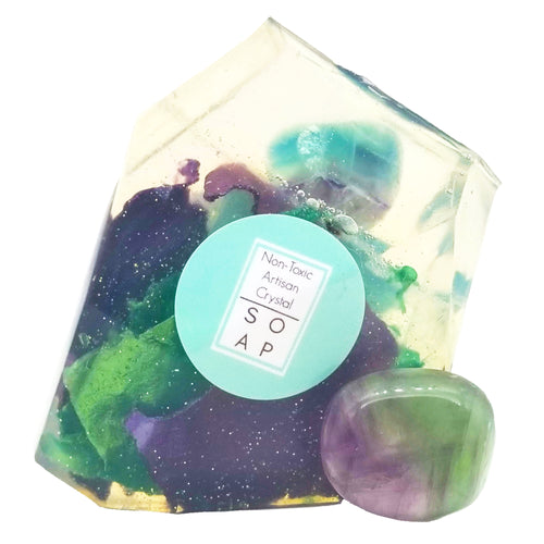 Fluorite Crystal Soap With A Real Crystal Stone In Each Vegan Bar Jasmine & Lime Essential Oil Scent - 4oz