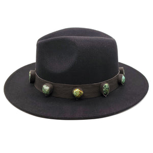Black Wool Wide Brim Boho Fedora Festival Hat With Artisan Applied Turquoise Crystal Stones Genuine Leather Panama Hat Jazz Derby Men Women