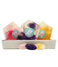 A Real Crystal In Each Vegan Handmade Soap Gift Set of 3 - Amethyst Citrine Rose Quartz