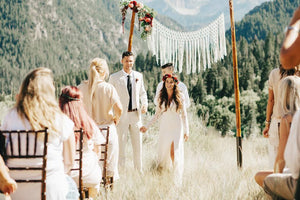 Elegant Handmade Bohemian Yarn Macrame Wedding Backdrop - The House Phoenix