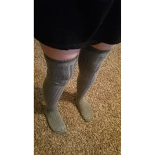 Womens Opaque Knit Over Knee Thigh High Socks