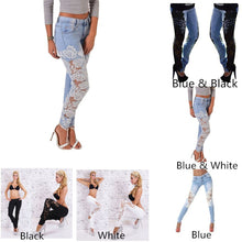Women Light Blue Denim Crochet Lace Skinny Legs Stretch Pencil Jeans