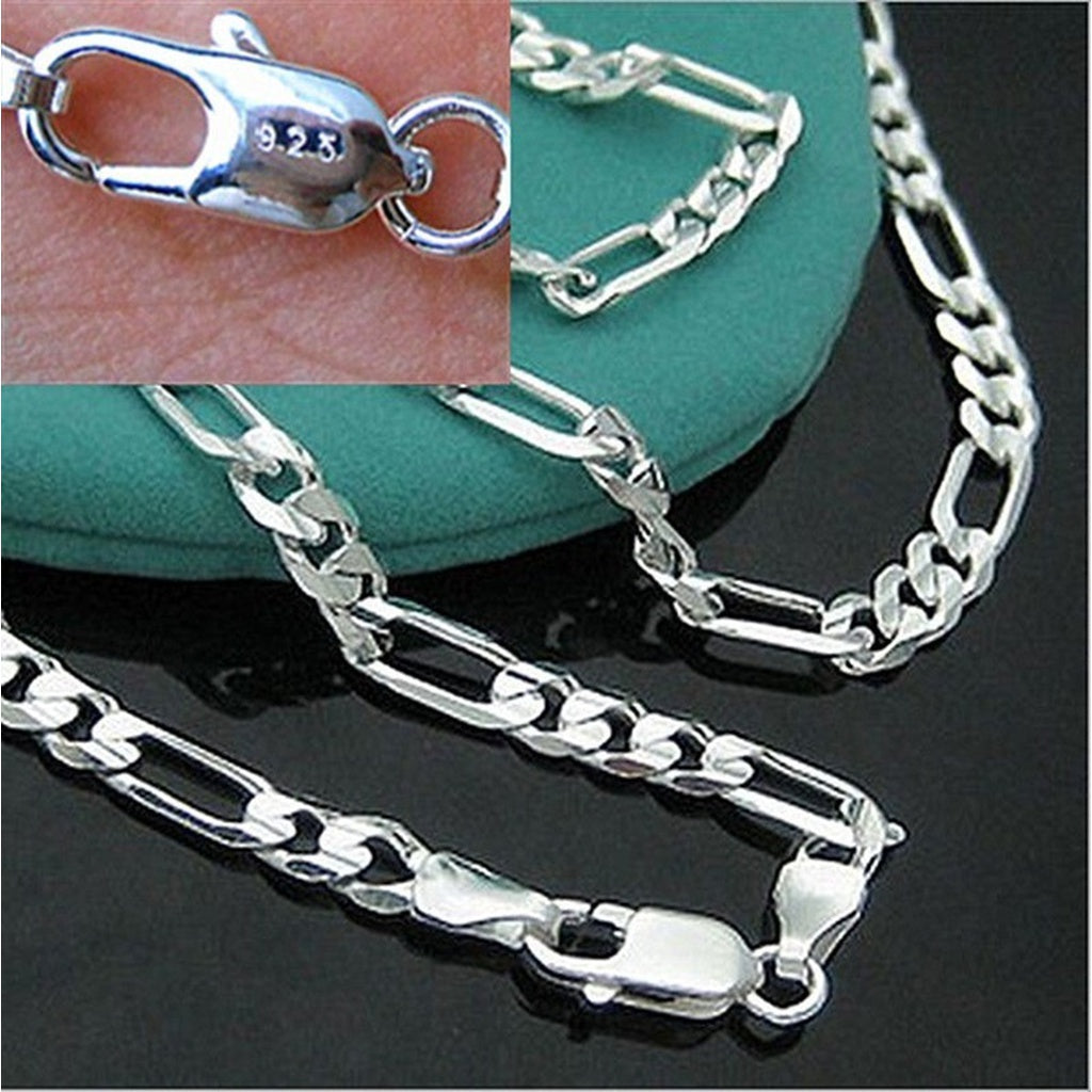 4MM Man Fashion 925 Sterling Silver Flat Chain Pendant Necklace Jewerly 16-30