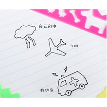 4PCS/set Cute Art Graphics Symbols Drawing Fun DIY Painting Template Stationery Candy Color Ruler Student Kids Drafting Stencil