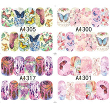 50 Sheets Mixed Designs Watermark Transfer Nail Art Stickers Manicure Tips DIY