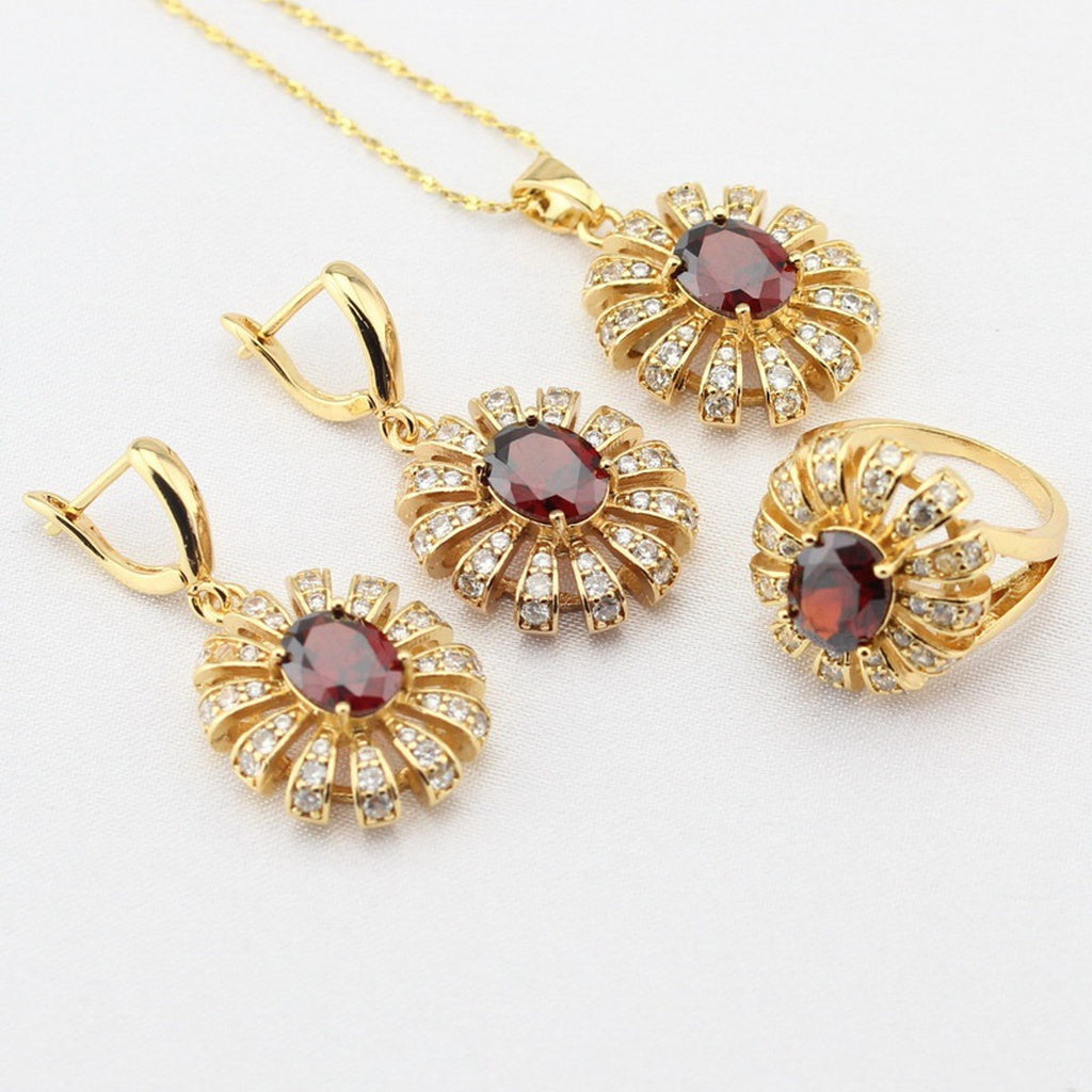Alluring 18K Gold Red Garnet Jewelry Sets Rings Drop Earring Necklace for Women Free Gift Box