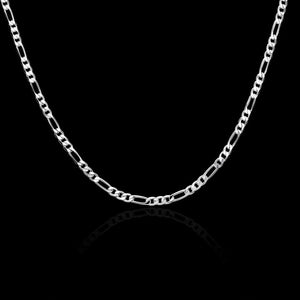 4MM Man Fashion 925 Sterling Silver Flat Chain Pendant Necklace Jewerly 16-30""