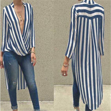 Long Sleeve Deep V Neck Stylish Striped Shirt Dress