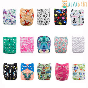 5 PCS Digital Printed Washable One Size Baby Cloth Diapers+ 5 Inserts