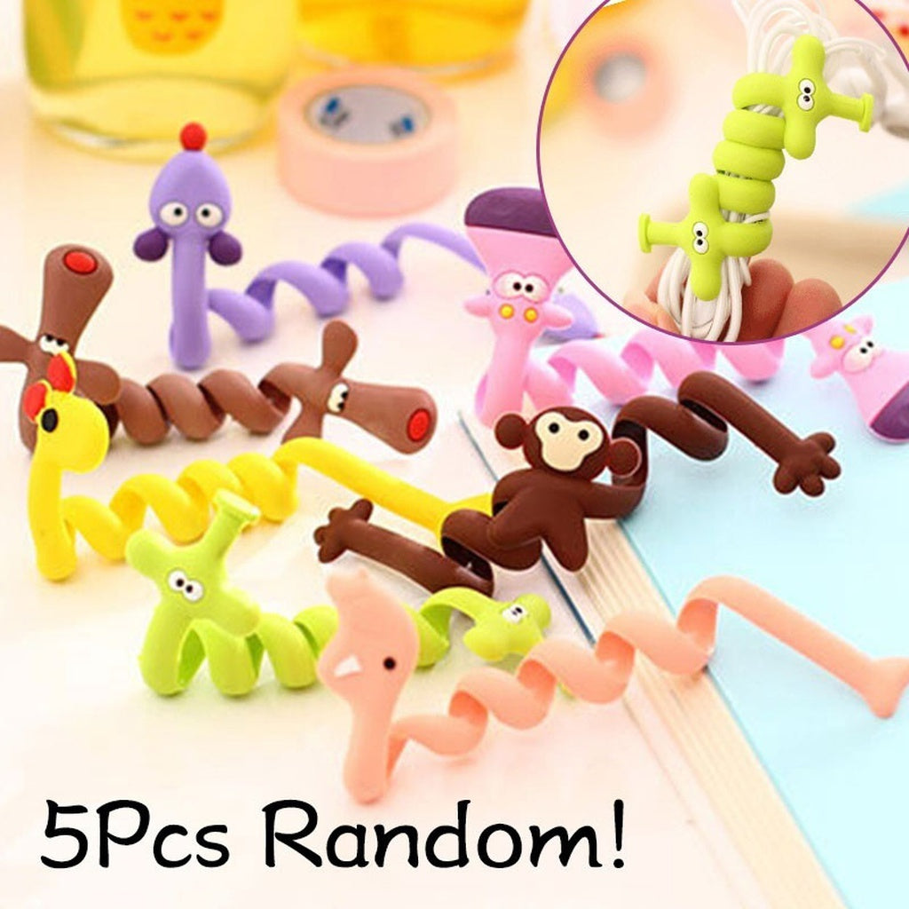 5 Pcs Cute Animal Organizer Usb Cable Holder Earphone Wrap Thread Winder Cord