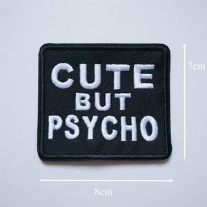 1Pc Embroidery Cute But Psycho Iron On Sew Patch Badge Hat Bag Jeans Fabric Applique Craft DIY