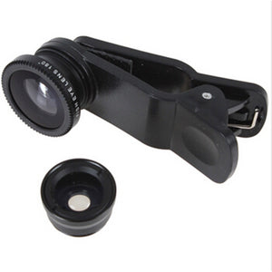Hot Sale Universal 3 In 1 Clip-on Fish Eye Macro Wide Angle Mobile Phone Lens Camera kit for iPhone 4 5 6 Samsung S4 S5 note2 3