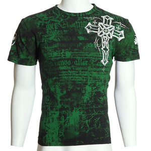 Cool Print Plus Size  Fashion Archaic AFFLICTION Men T-Shirt RED FLAG Cross Wings Tattoo Biker M-5XL