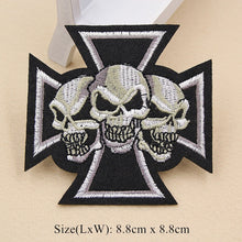 Embroidery Skull Sew Iron on Patch Badges Punk Rock Biker Embroidered Bag Hat T-Shirt Applique