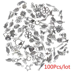 100pcs / 150pcs Bulk Lots Tibetan Silver Silver Beads Caps Spacer & Mix Charm Pendants Jewelry DIY Wholesale