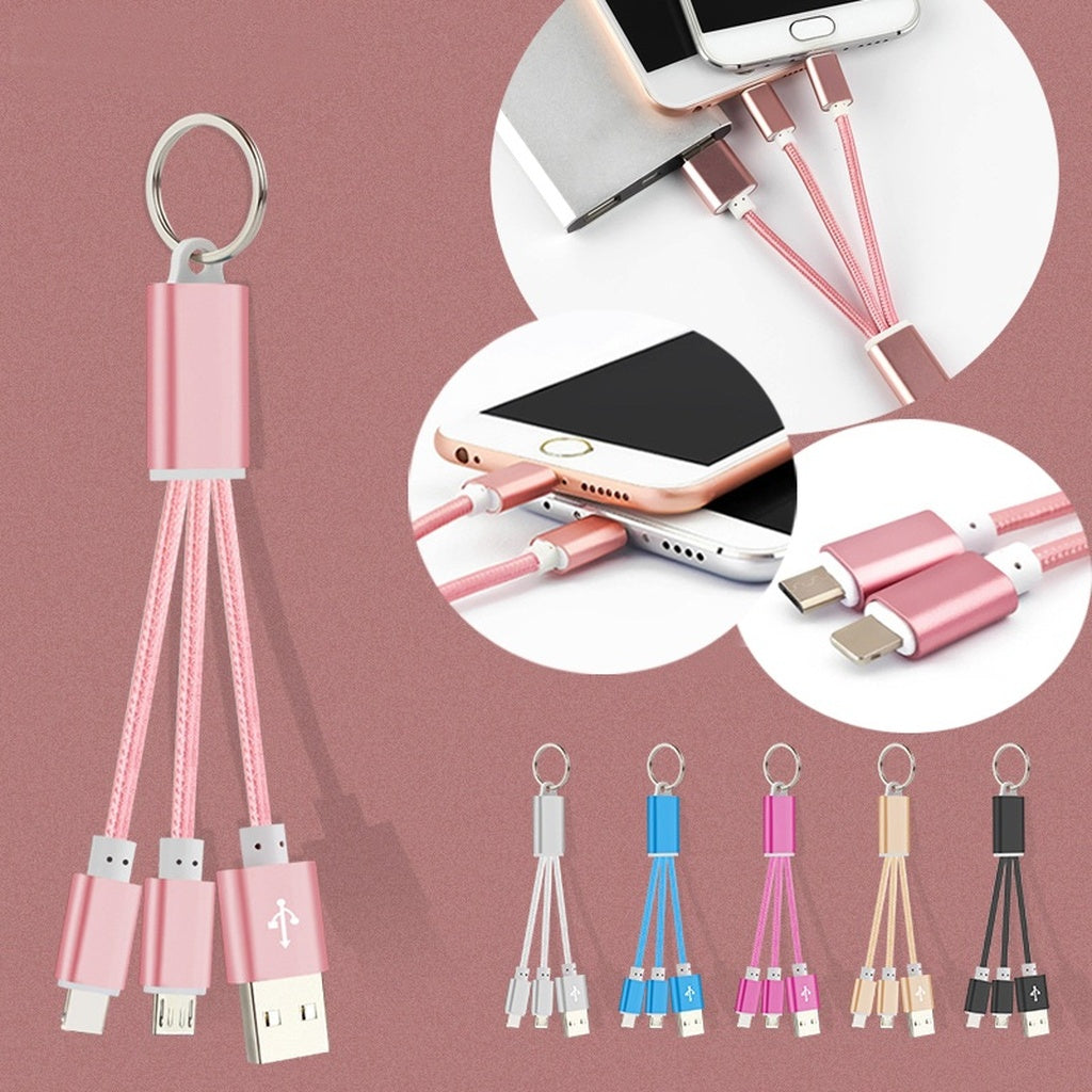 New Universal Phone Connector Braided Charging Data Line Special 2 In 1 Charger Multiple Combo Aluminum Alloy Key Chain
