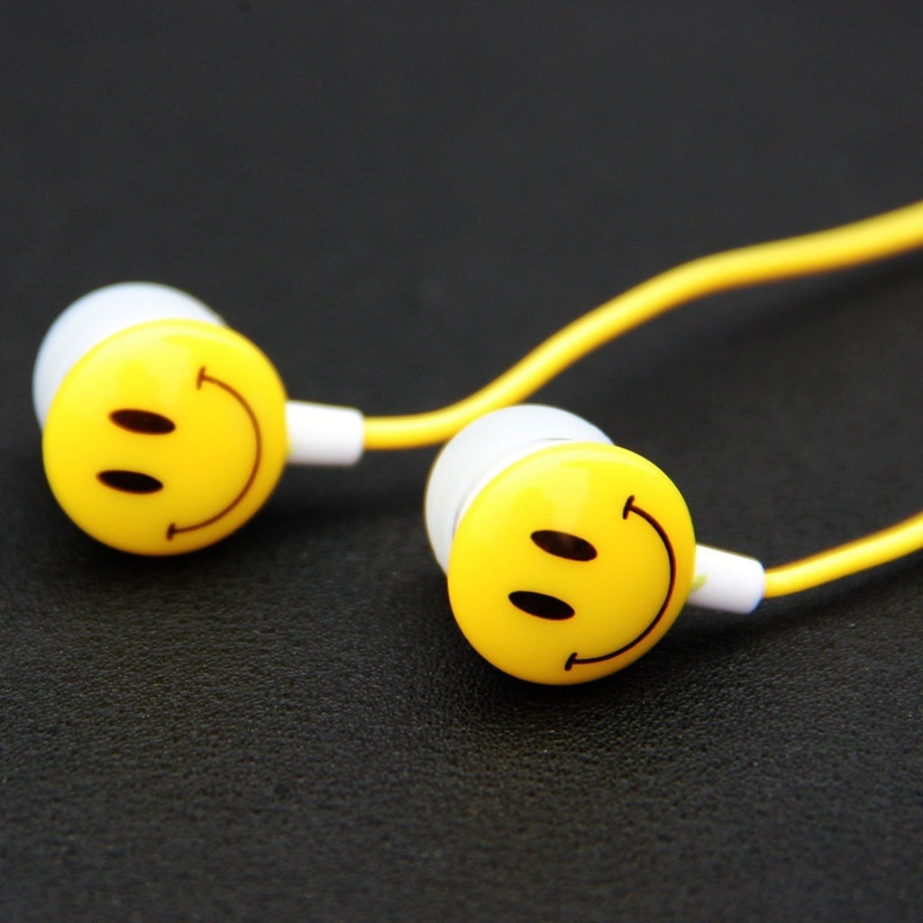 Emoji 3.5mm In Ear Smile Face Earphones Headsets For PC For Mobile Phones Music and Sports