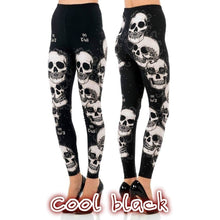 New Women Stitching Skull Print Stretch Legging Tight Pants Black S/M/L/XL/XXL