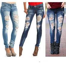 Middle Waist Casual Ripped Denim Pants Long Skinny