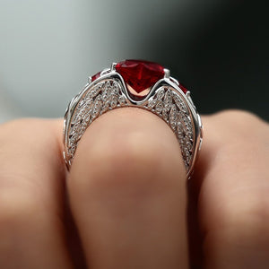 Princess 925 Sterling Silver Natural Ruby Gemstones Birthstone Bride Wedding Engagement Heart Ring Size 6 7 8 9 10