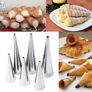 3Pcs Stainless Steel Spiral Baked Mould Croissants DIY Horn Baking Mold