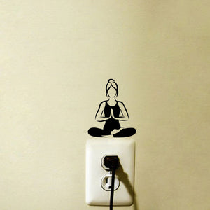 Padmasana {Lotus Pose} Meditation Yoga Pose Light Switch/Plug Outlet, Home Decal