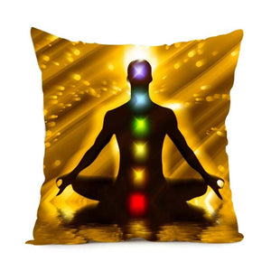 Yoga, Chakras Dual Sided Throw Pillow Case w/  Invisible Zipper