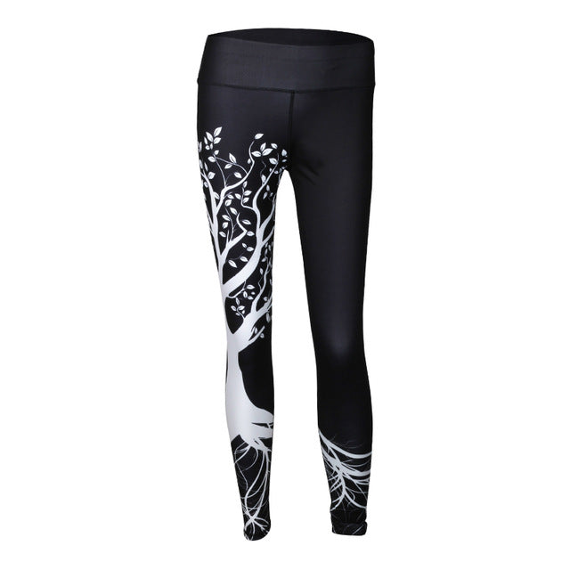 Chakra Tree of Life Print Yoga/Fitness Leggings White or Black