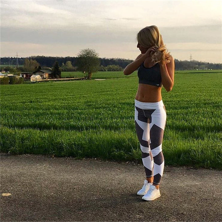 Black and white Geometry Printing Leggings