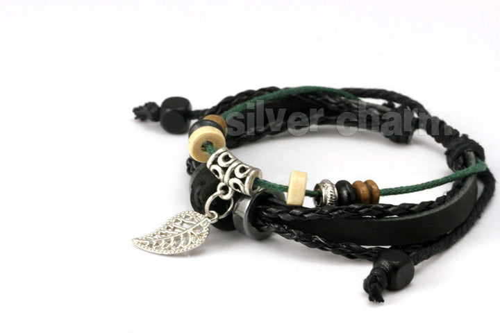 Black Braided Leather Feather Bracelet