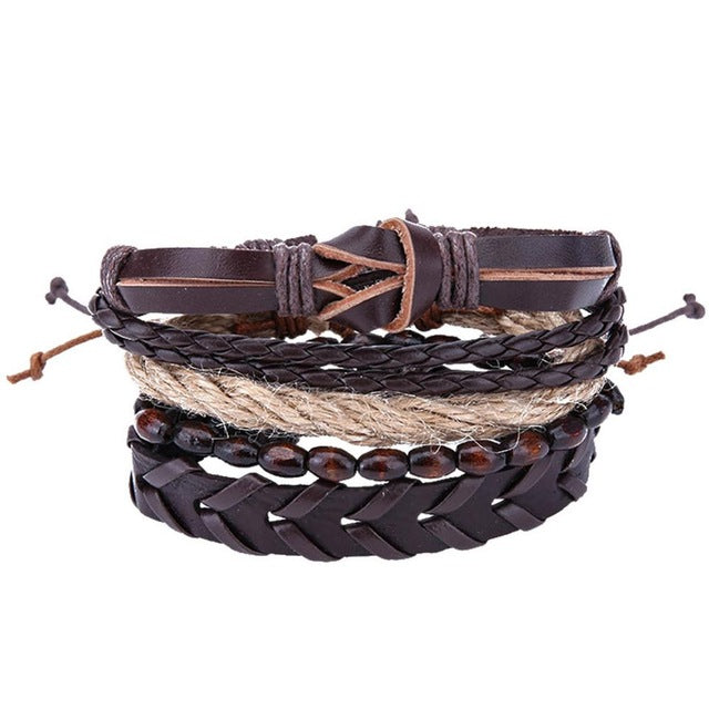 "Boho Genuine Leather Bracelet  ""Earth Tone"""