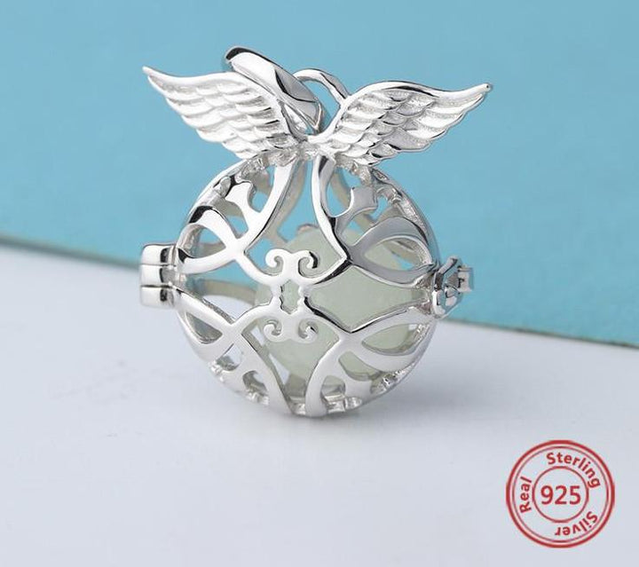 925 Sterling Silver Aromatherapy Angel Wings Charm