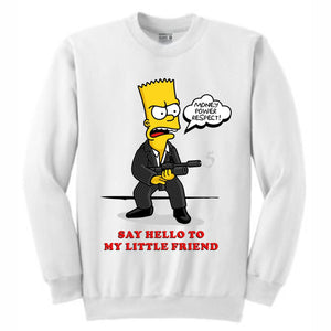Scarface Bart White Crewneck (Bootleg Collection)