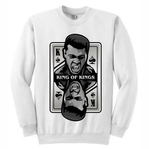 King of Kings Ali White Crewneck (Deck of Cards Collection)