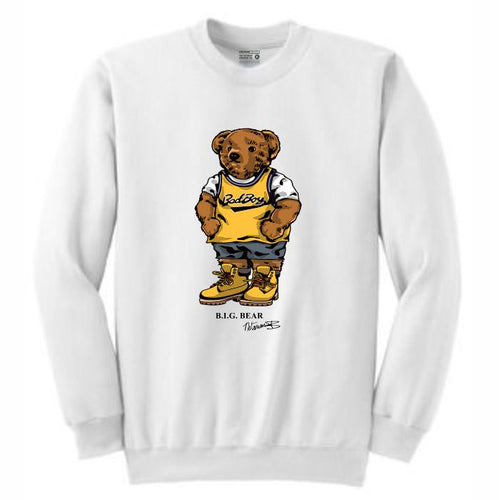 Biggie Badboy White Crewneck (Bear Collection)