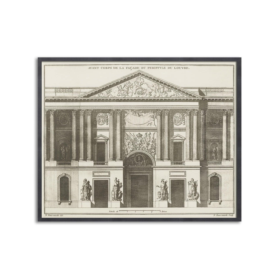 17th Century FACADE du LOUVRE Print - Foundry