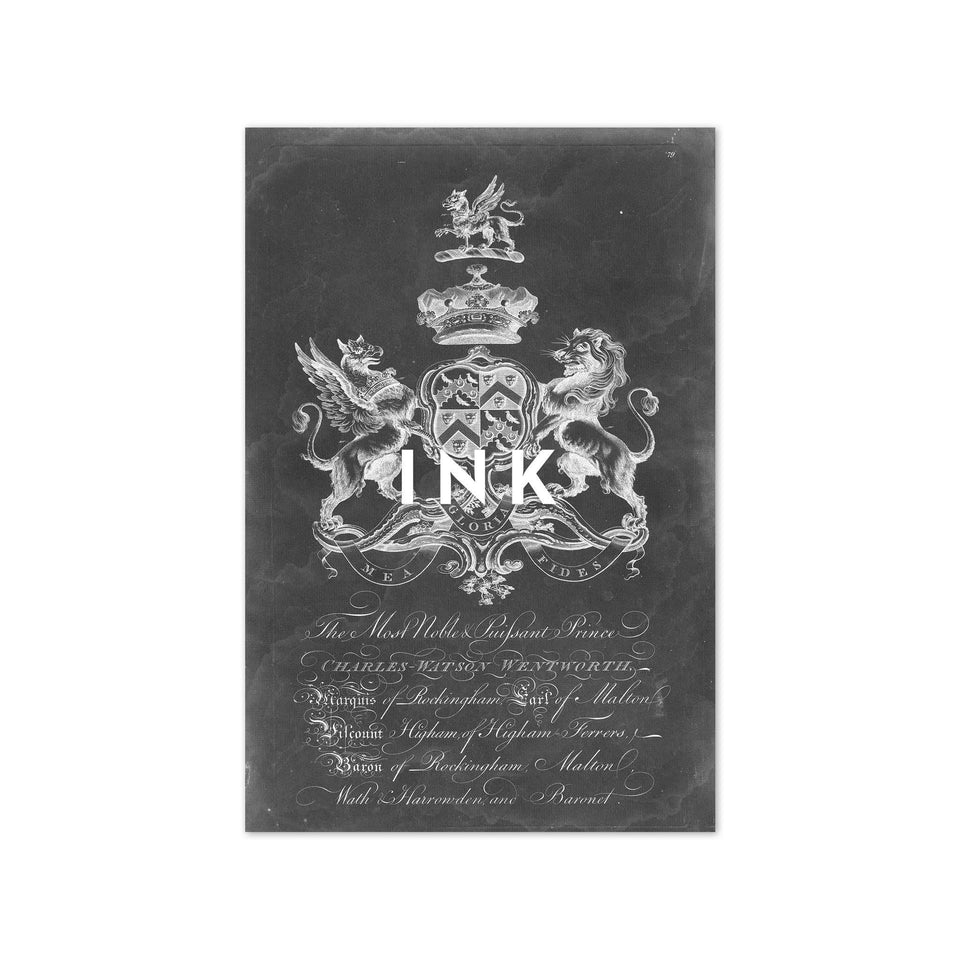 18th Century ENGLISH ARMORIAL ENGRAVING #01 - WENTWORTH CREST