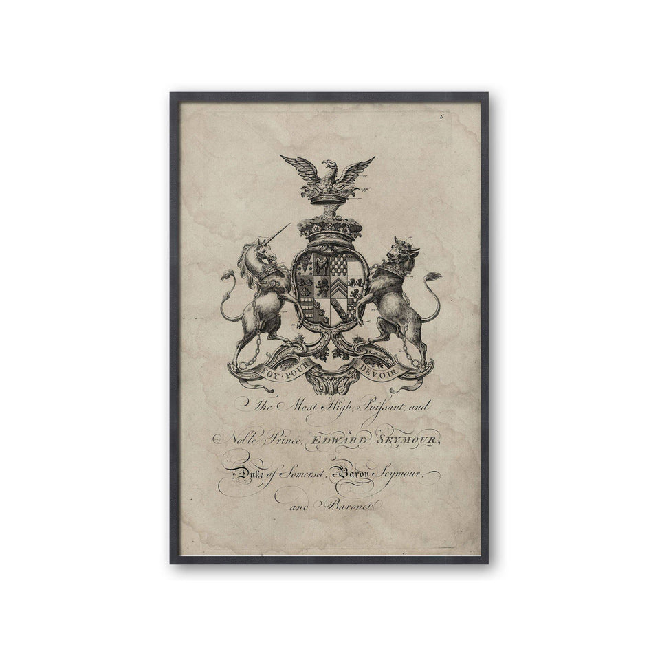 18th Century ENGLISH ARMORIAL ENGRAVING #03 - SEYMOUR CREST - Foundry