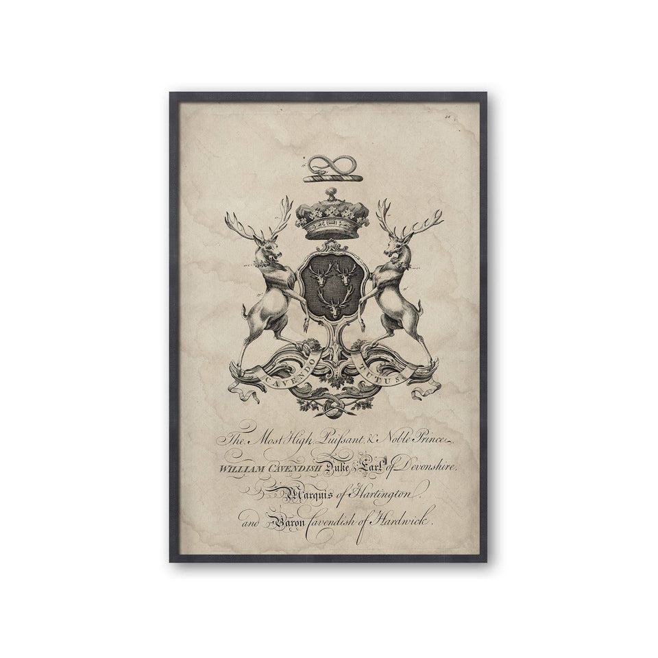 18th Century ENGLISH ARMORIAL ENGRAVING #04 - CAVENDISH CREST