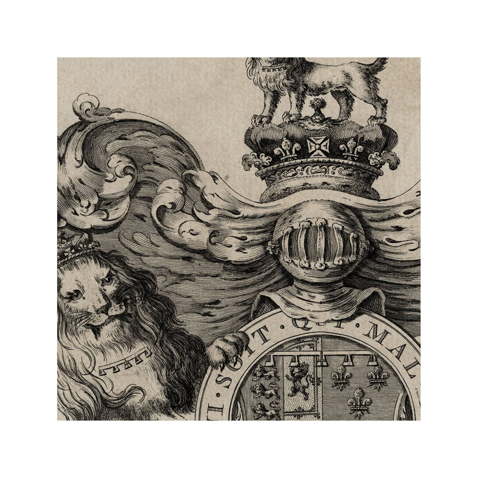 18th Century ENGLISH ARMORIAL ENGRAVING #06 - EDWARD AUGULTUS CREST - Foundry