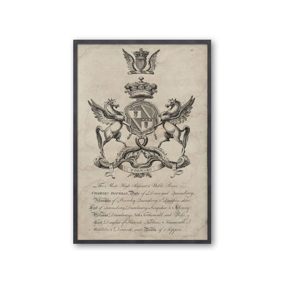 18th Century ENGLISH ARMORIAL ENGRAVING #08 - DOUGLAS CREST - Foundry