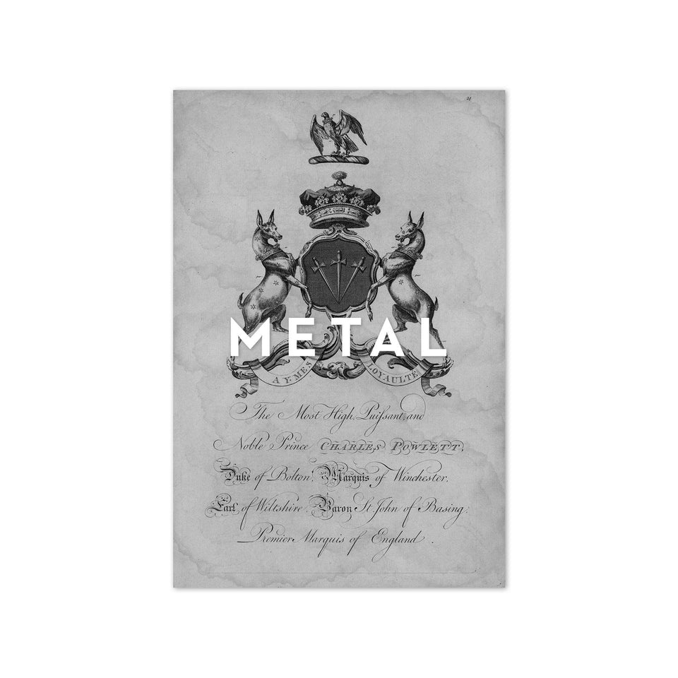 18th Century ENGLISH ARMORIAL ENGRAVING #10 - POWLETT CREST - Foundry